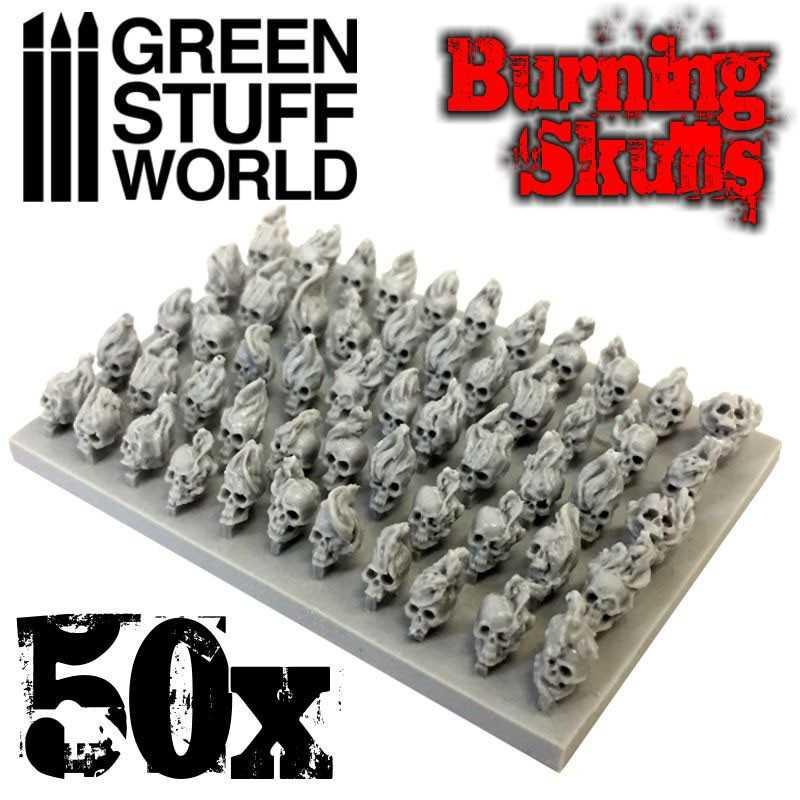 50x Crânes Brûlants Humains en résine