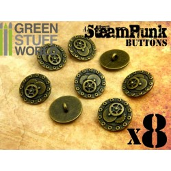 8x Steampunk Buttons BOLTS and GEARS - Bronze