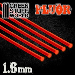 Acrylic Rods - Round 1.6 mm Fluor RED-ORANGE