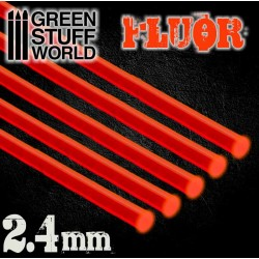 Acrylic Rods - Round 2.4 mm Fluor RED-ORANGE