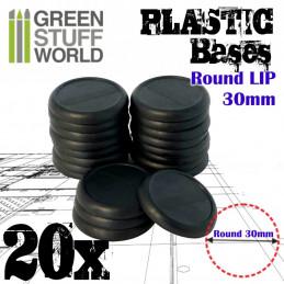Peanas de Plástico - Redondas con Labio 30 mm NEGRO