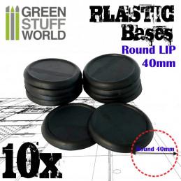 40 mm Runde Kunststoffbasen mit Lippe - Schwarz
