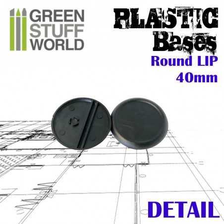 Socles de Plastique Ronds 40mm - Bords Arrondis