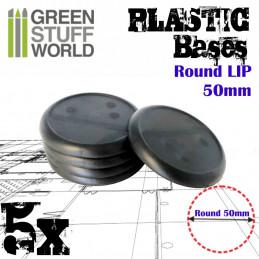 Peanas de Plástico - Redondas con Labio 50 mm NEGRO