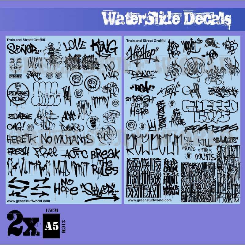 Waterslide Decals - Train and Graffiti Mix - Black