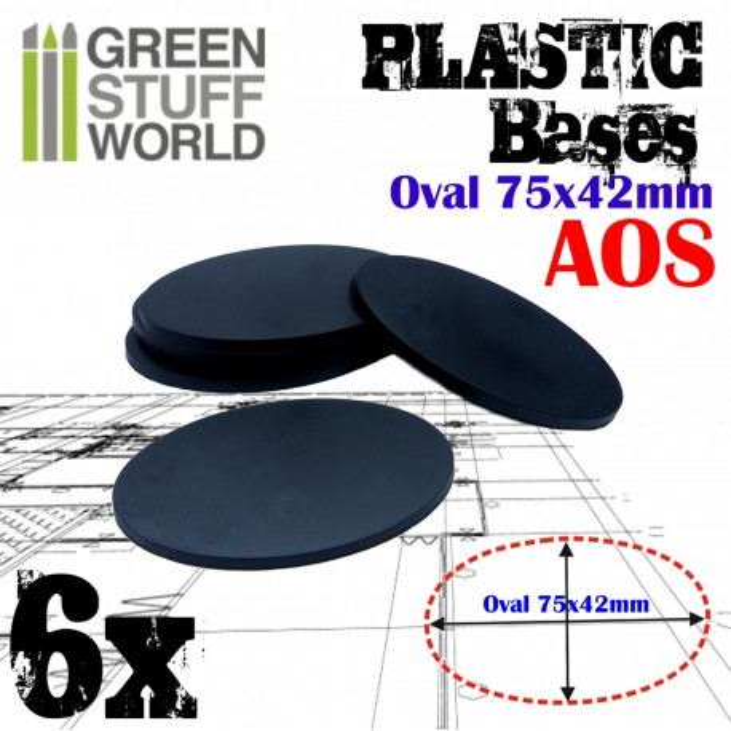 Plastic Bases - Oval Pill 75x42mm BLACK