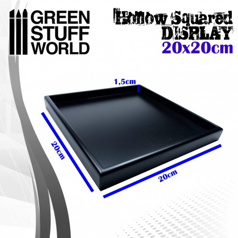 Hollow squared display 20x20 cm Black