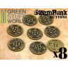 8x Steampunk Buttons SPROCKET GEARS - Bronze