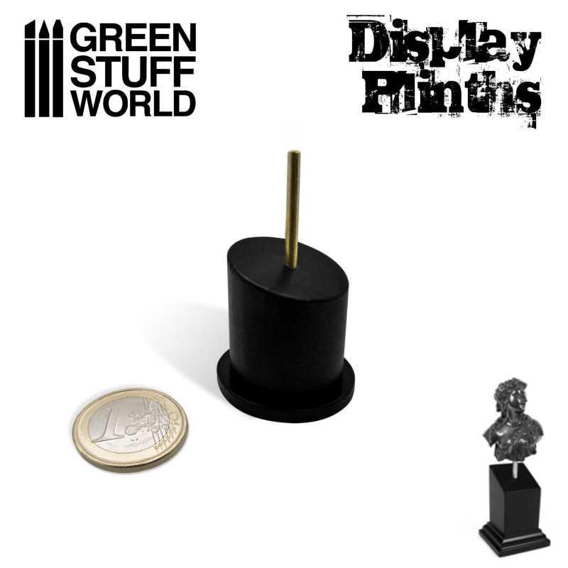Tapered Round Bust Plinth 2,5x2,5cm Black