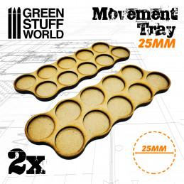 Plateaux de Mouvement MDF 10 x 25mm