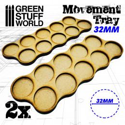 Plateaux de Mouvement MDF 32mm x10 - Skirmish