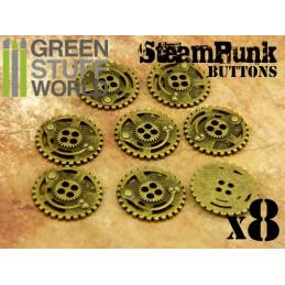 8x Botones RUEDAS DENTADAS SteamPunk - Oro Viejo