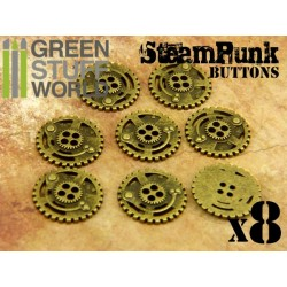 8x Steampunk Buttons SPROCKET GEARS - Antique Gold