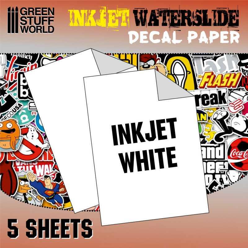 2 Feuilles a4 blanche Papier de décalque Waterslide Decal WHITE Paper