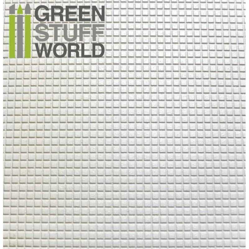 Plancha Plasticard Texturizado CUADRADOS PEQUEÑOS - tamaño A4