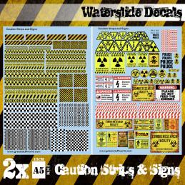 Wasserschiebe Abziehbilder - Vorsicht Streifen und Zeichen