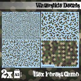 Decalcomanies a l'eau - Camouflage Forêt Hex