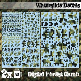 Decalcomanies a l'eau - Camouflage Forêt Digital