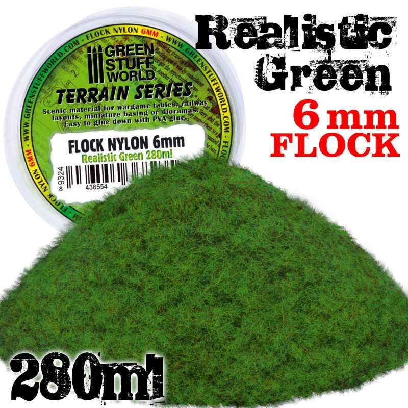 Static Grass Flock XL - 6mm - Realistic Green - 280 ml