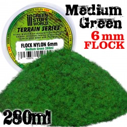 Static Grass Flock 6 mm - Medium Green - 280 ml