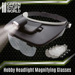 Profi-Kopfbandlupe mit Wechselgläsern und Licht