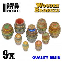 9x Barils en bois en Résine