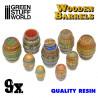 9x Resin Wooden Barrels