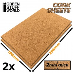 Cork Sheet in 2mm x2