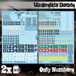 Wasserschiebe Abziehbilder - nur Zahlen