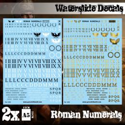 Wasserschiebe Abziehbilder - Römische Zahlen