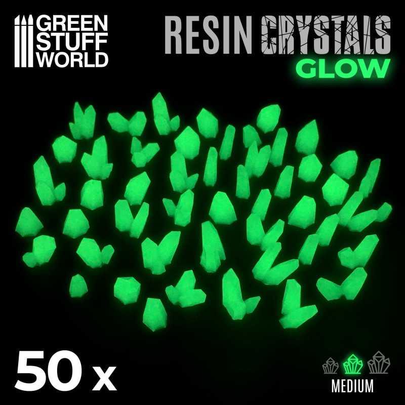 GREEN GLOW Resin Crystals - Medium