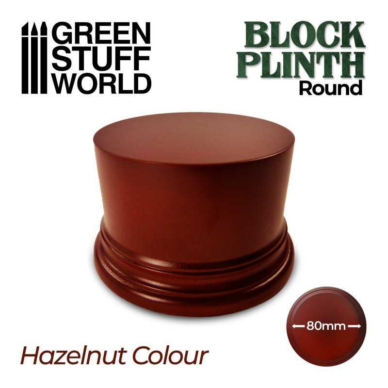 Round Block Plinth 8cm - Hazelnut