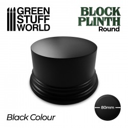 Round Block Plinth 8cm - Black