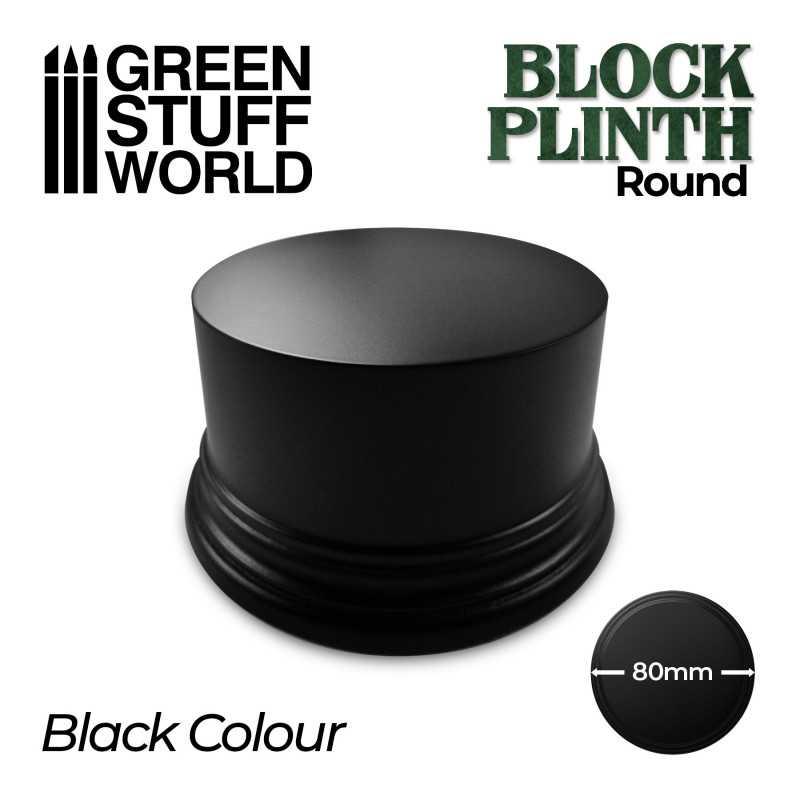 Round Block Plinth 8cm - Black