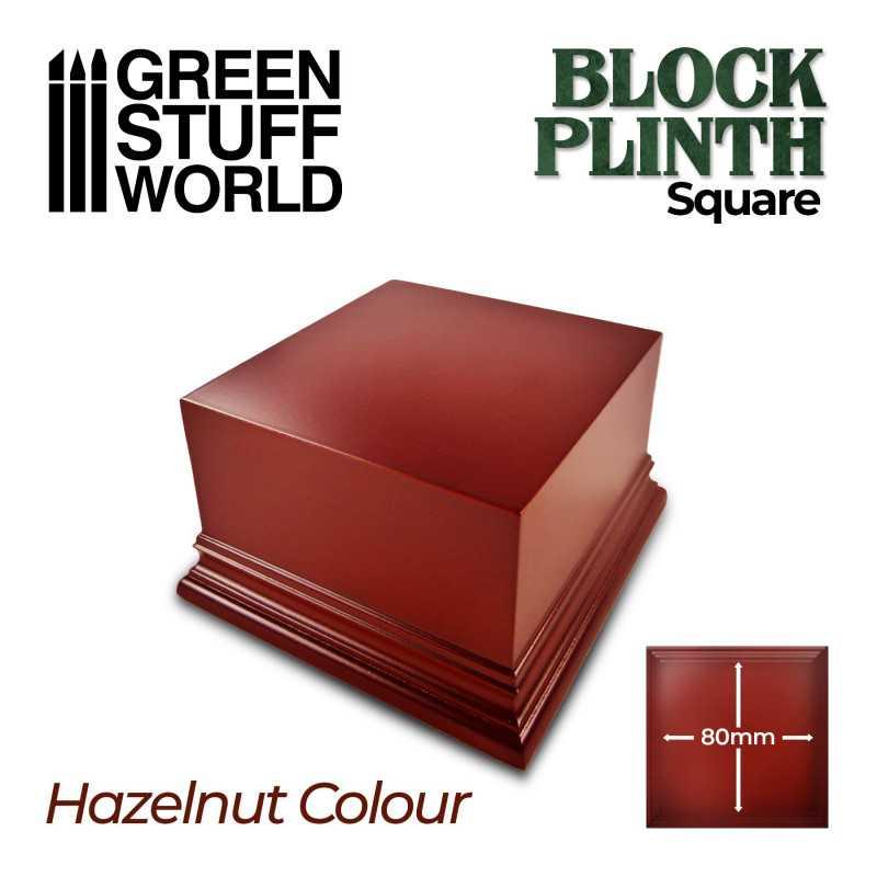 Square Top Display Plinth 8x8 cm - Hazelnut Brown