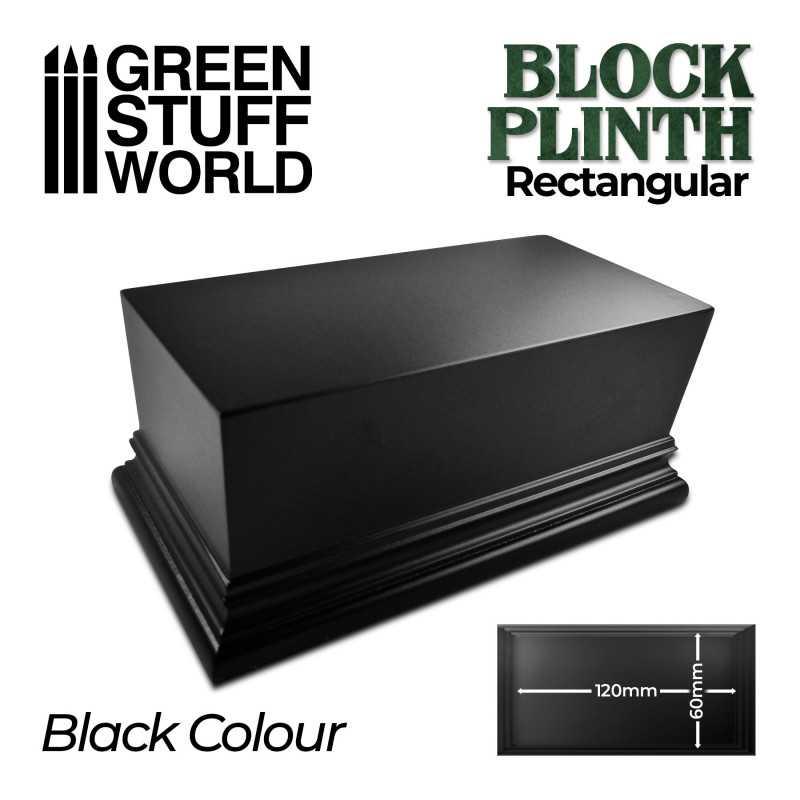 Socle Rectangulaire Ouvragé 12x6cm - Noir