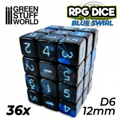36x D6 12mm Dice - Blue Swirl