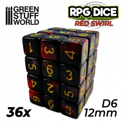 36x D6 12mm Dice - Red Swirl