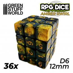 36x D6 12mm Spielwürfel - Rot Marmor
