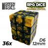 36x D6 12mm Dice - Red Swirl