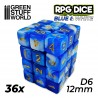 36x D6 12mm Spielwürfel - Bernstein Marmor