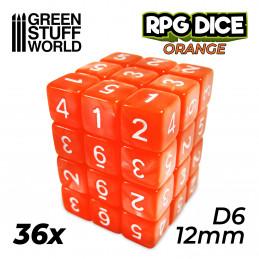 36x Dados D6 12mm - Naranja