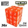 36x W6 12mm Spielwürfel - Orange