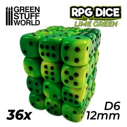 36x D6 12mm Dice - Lime Swirl