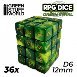 36x D6 12mm Dice - Green Swirl