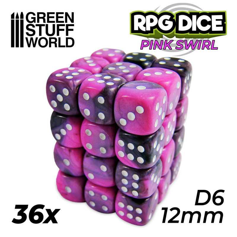 36x D6 12mm Dice - Pink Swirl