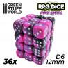 36x Dados D6 12mm - Rosa Marmol