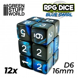 12x D6 16mm Dice - Blue Swirl