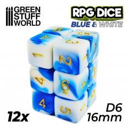 12x D6 16mm Dés de Jeu - Bleu Blanc