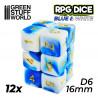 12x D6 16mm Dice - Blue White